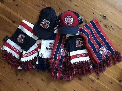 Huge As New Sydney ROOSTERS NRL Sports Merch - Scarves, Caps, Hats LOT