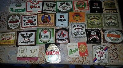 50 old  beer labels mainly  Poland 50 vecchie etichette birra East europe