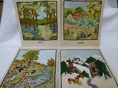 Set 4 Vintage Hand Embroidered Pictures The 4 Seasons Silk on Linen 1930s  12""