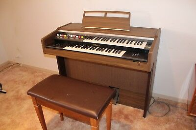 Yamaha Electone ORGAN, brown with black roll top, with stool.
