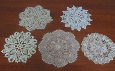 5 Vintage Hand Crocheted  Lace Doilies ~ Cotton ~ Round