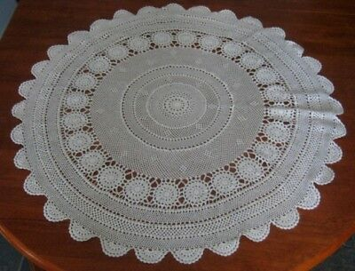 Vintage Crocheted Lace Tablecloth ~ Cotton ~ Light Beige ~ Round