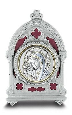 Madonna with Christ Child Gold P Framed Plaque in Burgundy Enamel Pewter Frame
