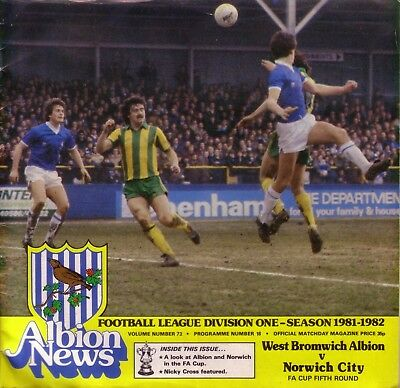 WEST BROM v NORWICH 1981/82 FA CUP 5TH ROUND