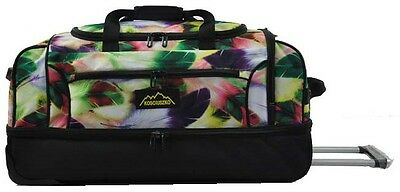 Kosciuszko Duffle Bag With Wheels 72Cm - Rrp $199 Black/yellow Feather
