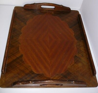 Timber Drinks Serving Tray Handles Inlaid Parquetry Wood Vintage Rare