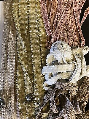 """Vintage French stunning Embroidered Braid Trims  passmentarie 80""""+80"""" 4m"""