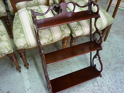 1930's mahogany wall hung shelf features of cut-outs & scrolls restored polished