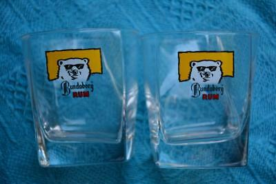 RARE Set x 2.Square Bear Logo Bundaberg Rum GLASS. Collectable. Unused/New