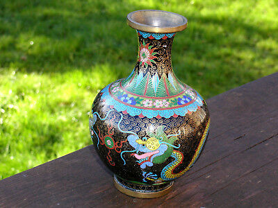 Vintage Colourful Chinese Cloisonne Vase With Dragon Design