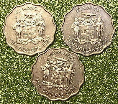 3-Coins from Jamaica.  10-Dollars. 1999,2000,05.