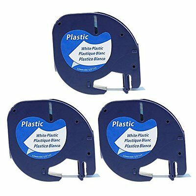 Sale 3 Pack Compatible DYMO LetraTag Tape 91331 (S0721660) Black On White Label