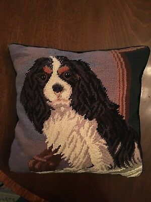 Cavalier King Charles Needlepoint Pillow