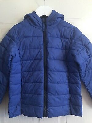 JOULES Boys Age 6 116cms Blue Hooded Padded Puffa Pack-Away Zip Up Jacket