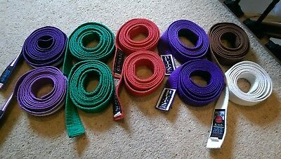 Green/Purple/Red/Purple with White stripe/White Judo Karate Belts 235 to 280cm