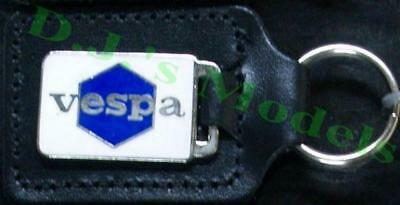 Vespa Key Ring blue & white - badge mounted on a leather fob