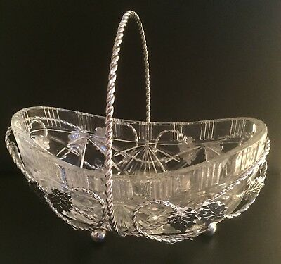 Vintage Art Glass Rose Bowl In Chrome Basket & Handle