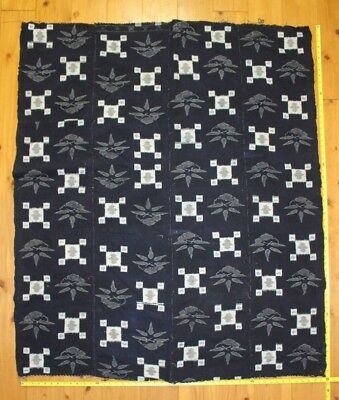 Antique Japanese Meiji Indigo Cotton Kasuri Boro Shaded Nice Futon Cover Fabric