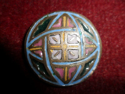 Antique arts and crafts copper and enamel button