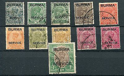 Burma KGVI 1937 Official Service opts short set to 1r SG.O1/11 used