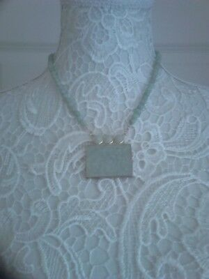 """Pale Green Jade and Silver Beaded carved Chinese scene necklace 17"""" length"""