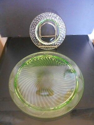 """Vintage 10"""" Green Glass Cake Platter and Small 6 1/2"""" Dish"""