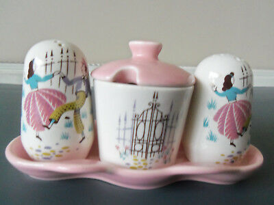 "Vintage Condiment/cruet Set-Salt/pepper/mustard-""beswick"" Dancing Couple"