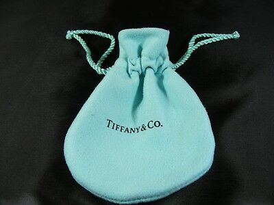 "Tiffany & Co. Blue Suede Gift Pouch Jewelry Bag Drawstring Bag 2.5""W x 3.5""L"