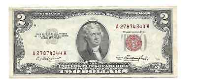 Series 1953 United States US $2 Dollar Legal Tender Note Red Seal