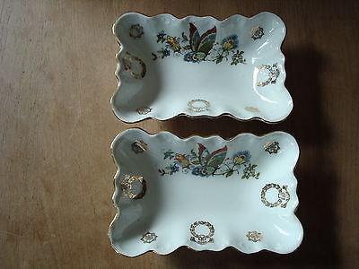 """2 x VINTAGE CHINA OBLONG BUTTERFLY DESIGN DISHES 6.25"""" LONG AND 1.5"""" DEEP"""
