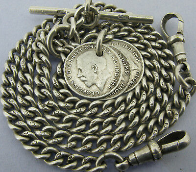 Antique Solid Silver Double Albert Watch Chain T-Bar & 3 Coin Fobs Chester 1916