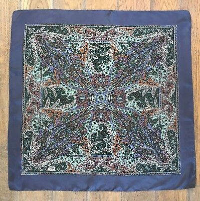 Liberty of London Silk Scarf, Square, Grey, Green and Lilac Print, 68 cm x 68 cm