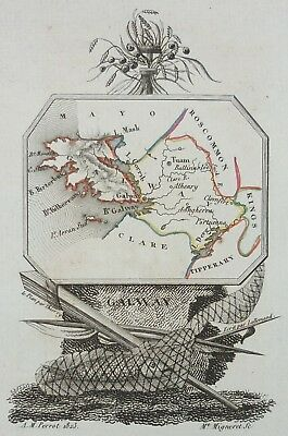 Original Xix° Map- Ireland Galway - Perrot 1823 - Connacht Gaillimh Tuam…