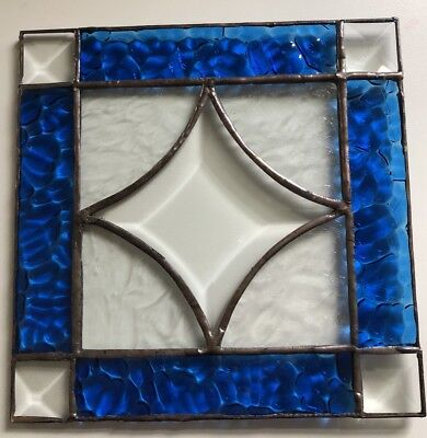 Colbalt Blue Stained Glass Sun Catcher Wall Window Hanging