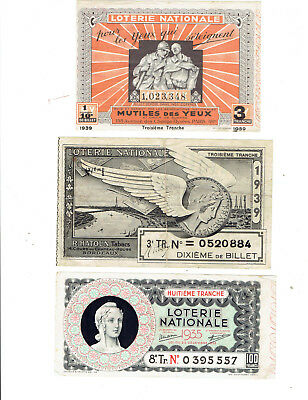 tickets de LOTERIE  nationale anciens  /1935/1939/1939    3