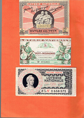 tickets de LOTERIE nationale anciens  /1935/1938/1940    5