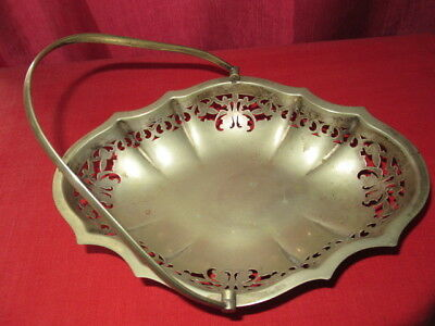 Antique Bon Bon Dish Tray with Handle Silver plate with 4 feet EPNS