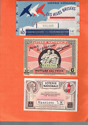 tickets de LOTERIE nationale anciens  /1935/1939/1940    6