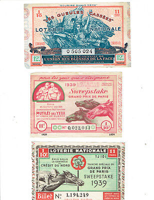 tickets de LOTERIE  nationale anciens  /1935/1939/1940    7
