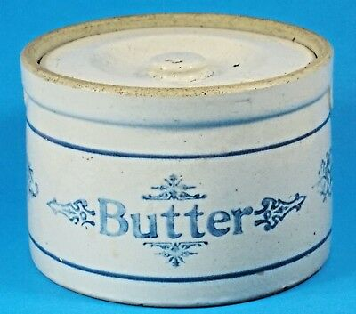 Antique Stoneware Butter Crock With Lid--Stenciled Decoration