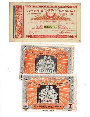 tickets de LOTERIE  nationale anciens  /1935/1939/1939   8