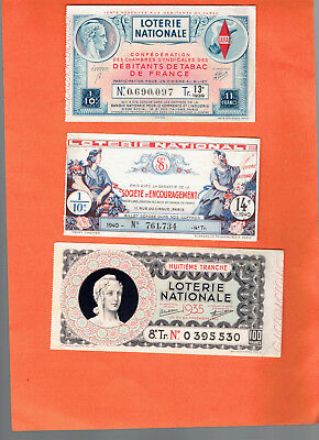 tickets de LOTERIE nationale anciens  /1935/1939/1939  9
