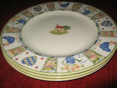 3 X Johnson Bros Meadow Brook Large Dinner Plates (27.5cm) -  Ex Cond