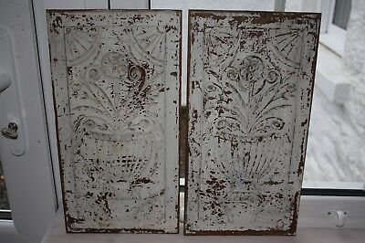 2 vintage wooden hardwood panels with carving.  Suitable for shabby chic project