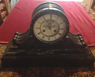 Victorian Slate Marble Mantle Clock For Restoration