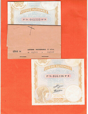 tickets de LOTERIE nationale anciens  /1935/  10