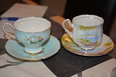 2 Vintage Paragon Cup & Saucer Sets Cliffs Of Dover Hm Queen Mary
