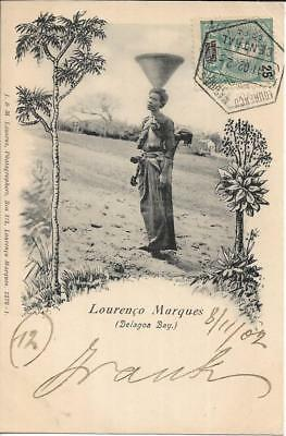Postcard LOURENCO MARQUES DELAGOA BAY JARS BEARER MOZAMBIQUE TO ITALY 1902