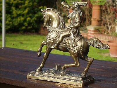 "Large Brass Hunting Horseman Figurine/ doorstop. 7.5"" High, well cast"