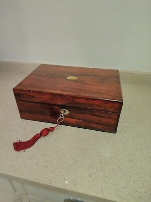 Antique Rosewood Box with Working Lock and Key C1860
